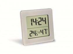 Thermo-Hygrometer silber mit Display und Uhr
