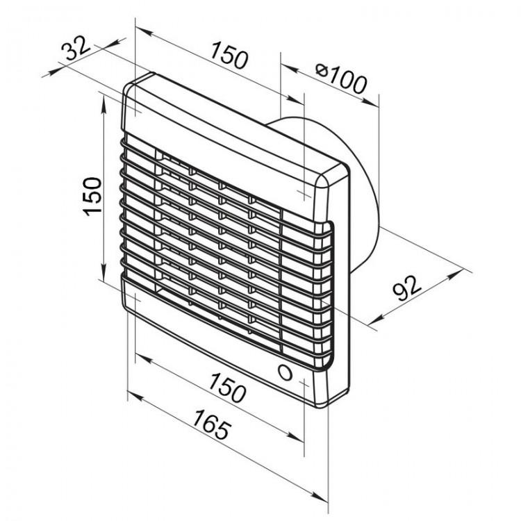 abluftventilator mit luftverschluss und einstellbarer nachlaufverz gerung. Black Bedroom Furniture Sets. Home Design Ideas