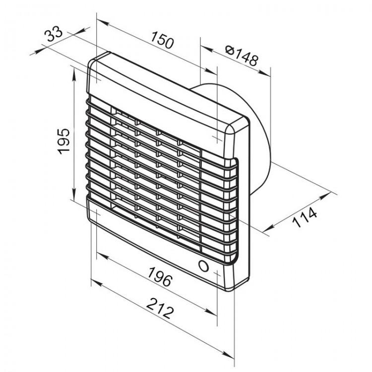 abluftventilator 125mm mit elektrischem jalousie verschluss. Black Bedroom Furniture Sets. Home Design Ideas